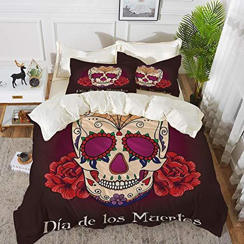 Dia De Los Muertos Dekor - Bettwäsche-Set, Mikrofaser, Tag der Toten Dekor,