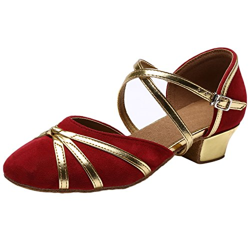 Azbro Women's Closed Toe Cross Strap Soft Sole Waltz Dance Shoes Red