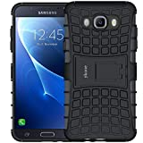 ykooe Galaxy J7 2016 Hülle, (TPU Series) Samsung Galaxy J7 (2016) Dual Layer Hybrid Handyhülle Drop Resistance Handys Schutz Hülle mit Ständer für Samsung Galaxy J7 2016 - Schwarz