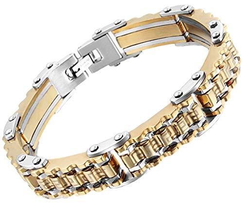 AnazoZ Edelstahl Armband Für Herren Kette Armband Zirkonia Gold Rectangle Biker Kette ()