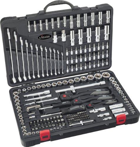 Vigor Steckschlüsselsatz (1/4, 3/8 und 1/2 Zoll, Ring-Maulschlüssel-Satz, Bits und Steckschlüssel für professionellen und privaten Gebrauch, 216 Einzelteile) V3277