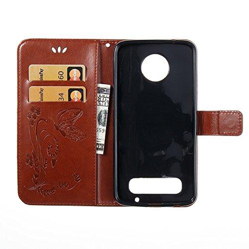 EKINHUI Case Cover Solid Color Faux Leder Bookstyle Brieftasche Stand Case mit geprägten Blumen & Lanyard & Card Slots für Motorola MOTO Z2 Play ( Color : Brown ) Brown