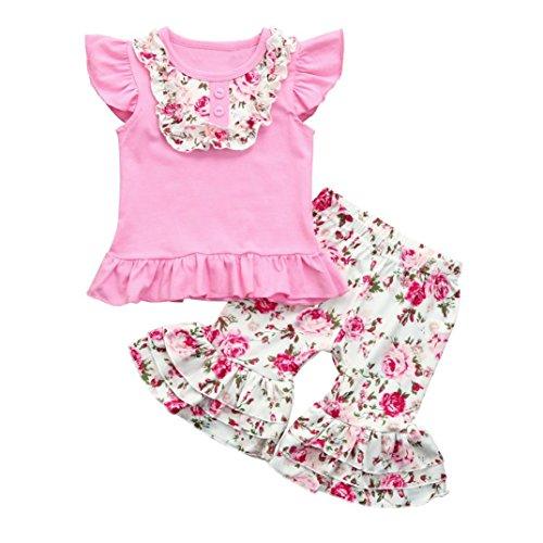 Baby Kinder Mädchen Sommer Bekleidungssets Kurzarm T-Shirt Candy Color Tops und Blume Druck Hosen mit Schöne Volant Mädchen Strandmode Festliche Kinderkleidung (Pink, 120CM 4Jahre) (Cotton Candy Rock Candy)