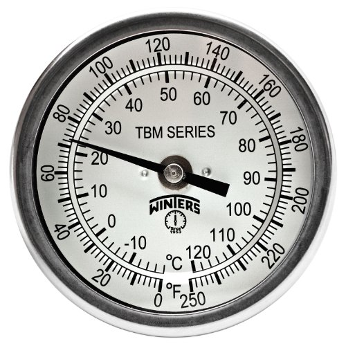 Winters TBM Series Stainless Steel 304 Dual Scale Bi-Metal Thermometer, 6 Stem, 1/2 NPT Fixed Center Back Mount Connection, 3 Dial, 0-250 F/C Range by Winters (Npt Mount Back)