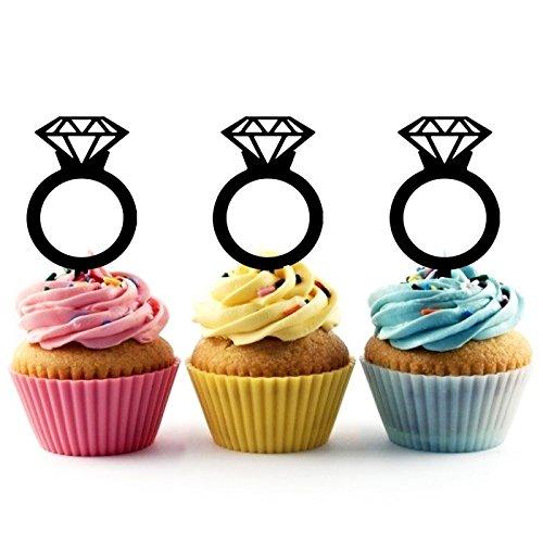 Diamond Wedding Ring Kuchenaufsätze Hochzeit Geburtsta Acryl Dekor Cupcake Kuchen Topper Stand für Kuchen Party Dekoration 10 Stück