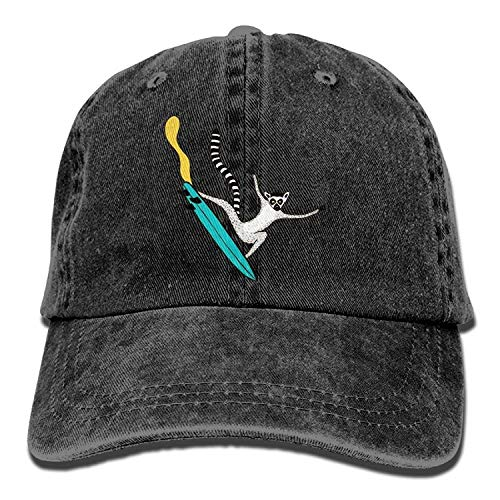 HOP caps Men Women Classic Denim Adjustable Dad Hat Ring-Tailed Lemur Skater Multicolored Low Profile Baseball Cap Great Gift for Unisex Friends Family Red -