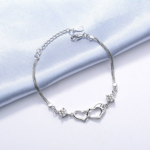 $ Drawihi 16cm + 4cm argento bracciale si adatta a donne ragazza come un regalo S925elegante semplicità Style Heart Connection recensioni dei consumatori
