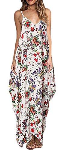 Damen Kleid LOBTY Sommer Sommerkleid Maxikleid Abendkleid Cocktailkleid Partykleid Blumen Tief V-Ausschnitt Schulterfrei Bodenlang Elegant Festlich Party Hochzeit Rot
