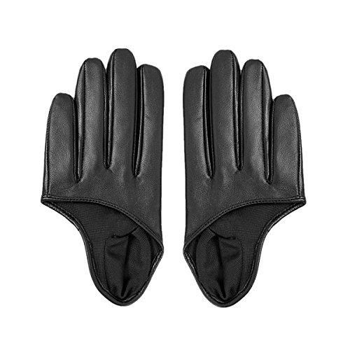 Matsu Kurze Damen-Handschuhe, Fingerhandschuhe aus Leder, schwarz, M9248 Gr. Medium, Black-551N (Fahren Hut Echt Leder)