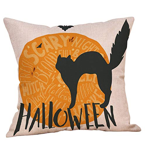 Hjgshd Kissen Happy Halloween Home Decor Kissenbezüge Leinen Kürbis Ghosts Kissenbezug für Sofa (E)