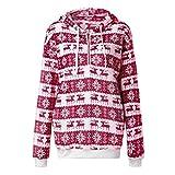 BHYDRY Damen Klassische Kapuzen-RV-Tasche langärmeligen Fleece-Mantel Weihnachten Pullover(EU-36/CN-M,Rot)
