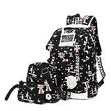 Symbollife leicht Rucksack Canvas Laptop Rucksäck Segeltuch Schulter Rucksack Schultaschen Umhängetasche Handtasche Canvas Sling Bag Outdoor Sporttasche mit Mäppchen für Universität Outdoor Freizeit,