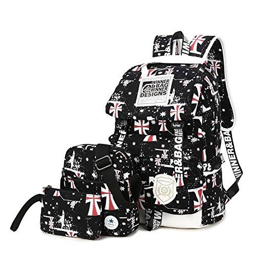 Symbollife leicht Rucksack Canvas Laptop Rucksäck Segeltuch Schulter Rucksack Schultaschen Umhängetasche Handtasche Canvas Sling Bag Outdoor Sporttasche mit Mäppchen für Universität Outdoor Freizeit, - Leichte Computer-rucksack
