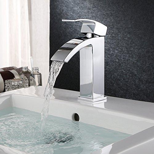 HOMFA Grifo del Baño Monomando Grifo del Fregadero mezclador monomando lavabo y baño Cromado Plateado