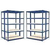 Étagère de garage en acier robuste à 4 compartiments 275 kg par étagère (5 niveaux 1800 mm H x 1200 mm l x 450 mm D) + Livraison gratuite le jour suivant.