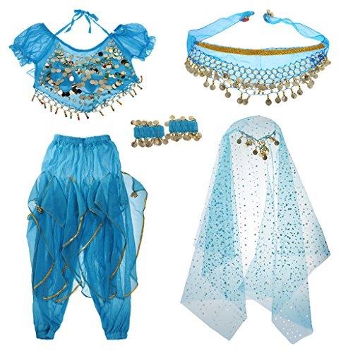 (MagiDeal Kinder Bauchtanz Komplet Tanzkostüme Set, Top + Pumphose + Hüfte Schal + Schleier + Armband - Blau, s)
