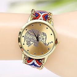 New Brand Elephant dial gold dress watches Handmade Braided Friendship Bracelet Watch women Hand-Woven wristwatch Quarzt Watch