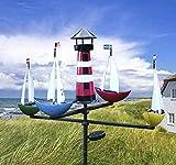 XL Windspiel Schiffskarussell Regatta mit Solar groß dekorativ