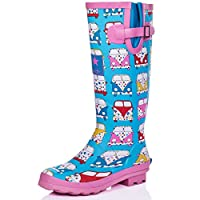 Spylovebuy Adjustable Buckle Flat Festival Wellies RAIN Boots CAMPERVANS SZ 8