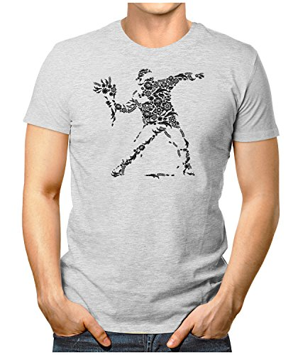 PRILANO Herren Fun T-Shirt - BANKSY-FLOWER - Small bis 5XL - NEU Grau Meliert