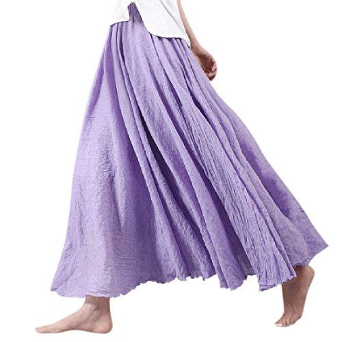 nlife donne cotone lino Double Layer elastico in vita lunga gonna lunga maxi Rock Purple