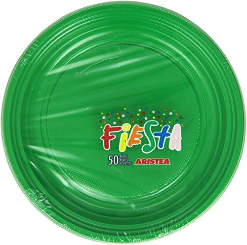 Fiesta, Lot de 50 Assiettes en Plastique, de Couleur Verte