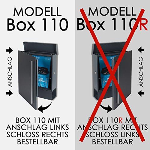 MOCAVI Box 110 Design-Briefkasten mit Zeitungsfach anthrazit-grau (RAL 7016) Wandbriefkasten, Schloss rechts, groß, Aufputzbriefkasten dunkelgrau, Postkasten anthrazitgrau modern mit Zeitungsrolle - 9