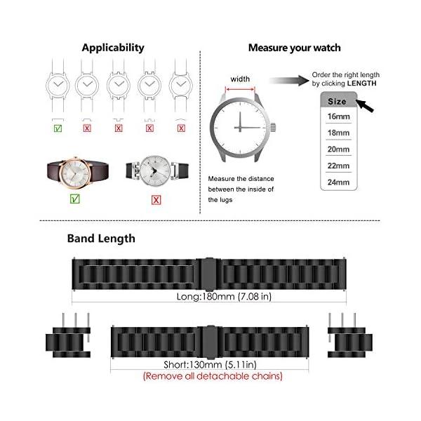 Fullmosa 4 Colores para Correa Metálica de Reloj de Liberación Rápida, Pulsera Reloj de Acero Inoxidable 14mm 16mm 18mm… 6