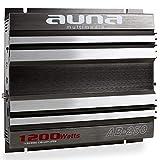 auna AB-450 Amplificatore 4 canali • Finale di potenza • 360 Watt RMS • 2400 Watt max. • filtro basso regolabile • design racing • 35 x 5 x 25,5 cm (LxAxP) • inclusi 2 x cavi di alto livello • nero