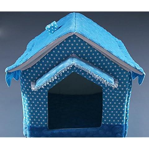 Lavable caseta de perro del animal doméstico casa, medianos y grandes perros , blue , 40*35*40cm