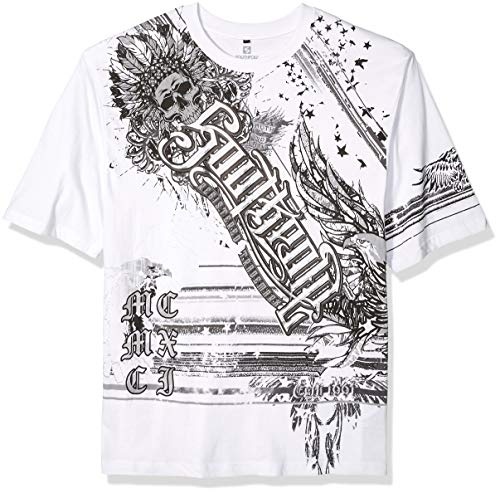 Southpole Herren Short Sleeve Graphic Tee Collection T-Shirt, White Chief, Mittel -