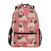 LIUBT Cute Pug Puppy Dog Pattern Casual Backpack Student School Bag Travel Hiking Camping Daypack