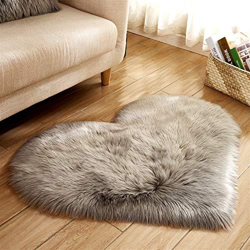Liveinu tappeto shaggy pelo alto pelo lungo forma di cuore tappeti in pelle di agnello artificiale decorazione per camera da letto,soggiorno,divano,giaciglio 40x50cm grigio