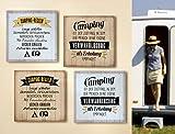 1 x Schild Weisheit Camping Breite 19 cm, Wandobjekt, Wandschild, Camper, Camping (Camping ist der Zustand... (hellbraun))
