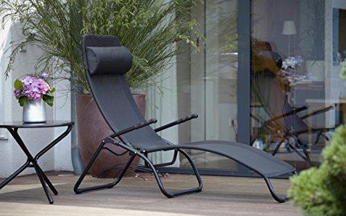 Jan Kurtz Fiam Samba Chaise longue relax édition limitée, armature aluminium noir, housse : plastique Tissu Noir