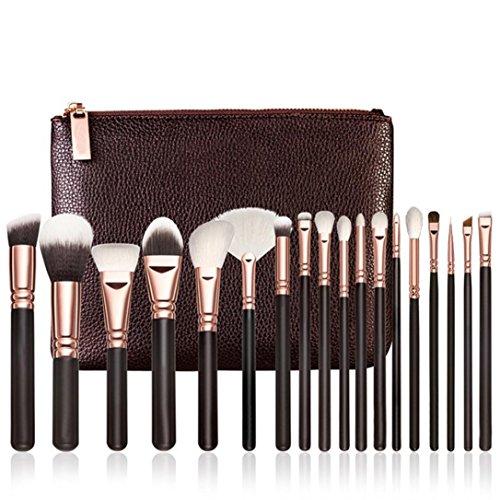 Ensemble de pinceaux de maquillage, Honestyi 18 pcs Rose Or Maquillage Brosse Ensemble Complet Outils Pinceau de mélange de poudre (Or rose)