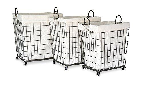 Moycor Decoracón Set de 3 corbeilles en textilène/métal Petits Carreaux