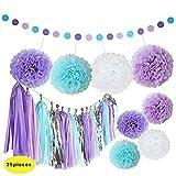 Sirena, decoración púrpura y azul papel de seda pompones flores Tejido Borla Guirnalda lunares para guirnalda de papel para baby shower Fiesta Mar tema Decoración para cumpleaños–25pcs