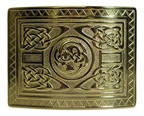 Glen Esk Highland Swirl Celtic Knot Kilt Gürtelschnalle - Vergoldetes poliertes Messing Highland Swirl