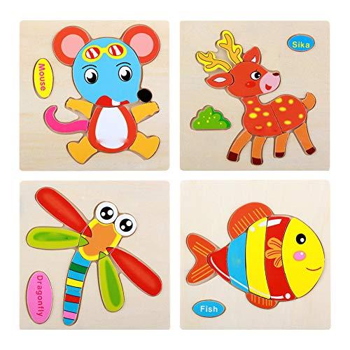 Trifycore Kinder Bunte Educational Jigsaws Cartoon-Tier Puzzle Holz Verkehr Puzzle Kinder Obst Puzzles für Kleinkinder Vorschüler Libelle Ratte Fisch Sika Deer 4Pcs