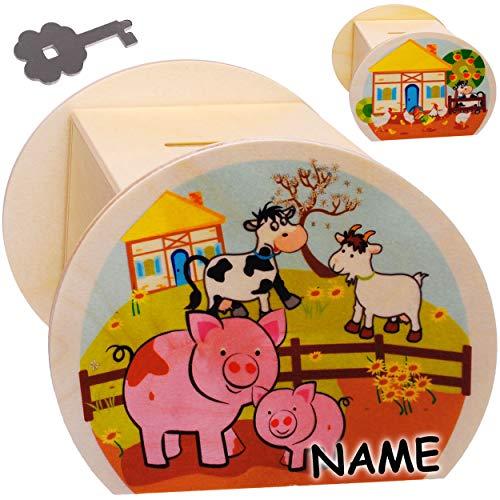 alles-meine.de GmbH 2 Stück _ große Holz - Spardosen - Bauernhof - Kuh Schwein Hühner - inkl. Name - mit Schlüssel & Schloß - stabile Sparbüchsen - 11,5 cm - Sparschweine - für K..