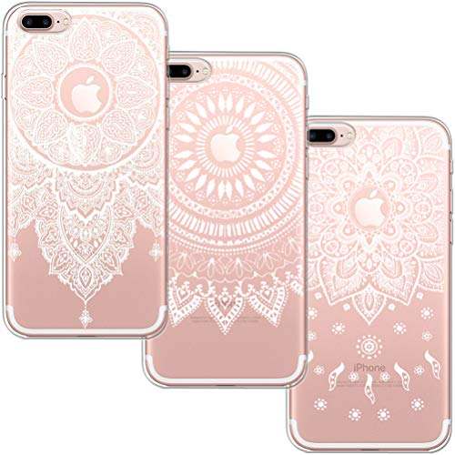 [3 Pack] Funda iPhone 7 Plus, Funda iPhone 8 Plus, Funda iPhone SE, Blossom01 Funda Ultrafina Suave Funda de Silicona TPU con Linda Caricatura Para Apple iPhone 7 Plus / 8 Plus - 3 * Mandala