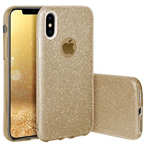 QULT Schutzhülle Kompatibel mit iPhone X/iPhone XS Hülle Silikon Glitzer Tasche Glänzende Schutzhülle mit Glitter Design iPhone 10 / iPhone XS Case Cover Gold (EINWEG)