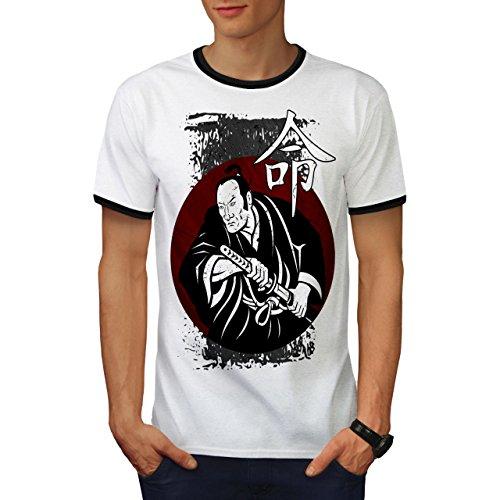 heftig Samurai Schau Kimono Mann Herren M Ringer T-shirt | Wellcoda (Ringer Geist T-shirt)
