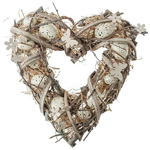 Matches21 corona pasquale cuore & uova di pasqua centrotavola ghirlanda porta decorazione primaverile fiori pasqua decorazione naturale/bianco in 2 misure, legno, 30 cm