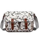Miss Lulu Messenger Bag School Satchel Bookbag Oilcloth Bird Flower Cross-body Bags Handbag (1107-16J grey)