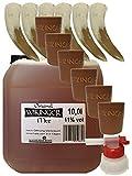 Wikinger Met 10 Liter Kanister + Tonbecher Groß 6er Set + Ausgießer + 6 Trinkhörner 0,1 Liter