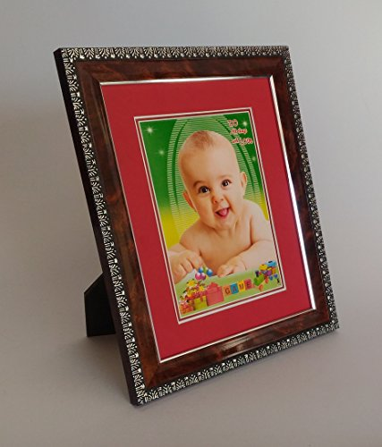 photo frames bulk buy quantity premium matty finish non dusty brown with silver design with red color mat mount border photo size with mat 6x8