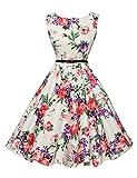 Abito da sposa partito dei vestiti Hepburn stile pannello esterno pieno delle donne Floral-21