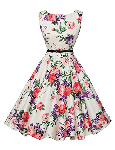 GRACE KARIN Robe Vintage Rockabilly pin-up pour Anniversaire/Party/Mariage/Bal Grande Taille XS CL6086-21